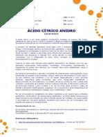 Ficha Tecnica - Acido Citrico Anidro