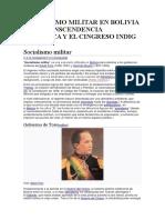 Socialismo Militar en Bolivia y Su Transcendencia Historica y El Cingreso Indig