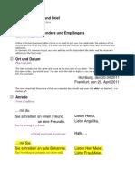 checklist - Breif schreiben A1