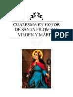 Cuaresma en Honor de Santa Filomena Virgen y Mártir