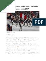 Lamentan Noticias Emitidas en Chile Sobre Los Panamericanos Lima 2019
