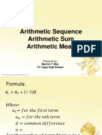 Class Notes - Arithmetic Sequence