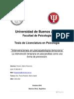 """""""Intervenciones en Psicopatología Temprana"""" La Intervención Temprana en Psicoanálisis Como Una Forma de Prevención."""