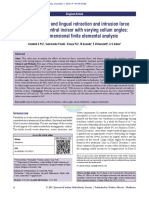 Effect of lingual retraction  and intrusion force on maxillary central incisor