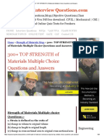 300+ TOP STRENGTH of Materials Multiple Choice Questions and Answers