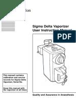 Penlon Sigma Delta Vaporizer - User Manual