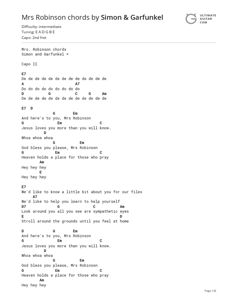 Mrs Robinson Chords by Simon & Garfunkel   Necked Lutes   String ...