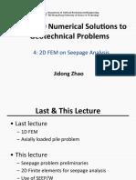 CIVL4750 Lecture 4 - 2D FEM on Seepage Analysis