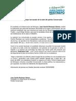 Conservadores expulsaron a Juan Camilo Restrepo, candidato a gobernación de Antioquia