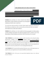 Addendum to the Memorandum of Family Settlement