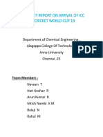 Survey Report on Arrival of ICC Cricket World Cup 19