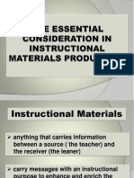 The Essential Consideration in Instructional Materials Production (1)