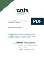 Diseño y validación de un cuestionario de actitudes más relevantes para el aprendizaje de las Matemáticas en Secundaria.Trabajo Fin de Máster de Rosa María Fernández