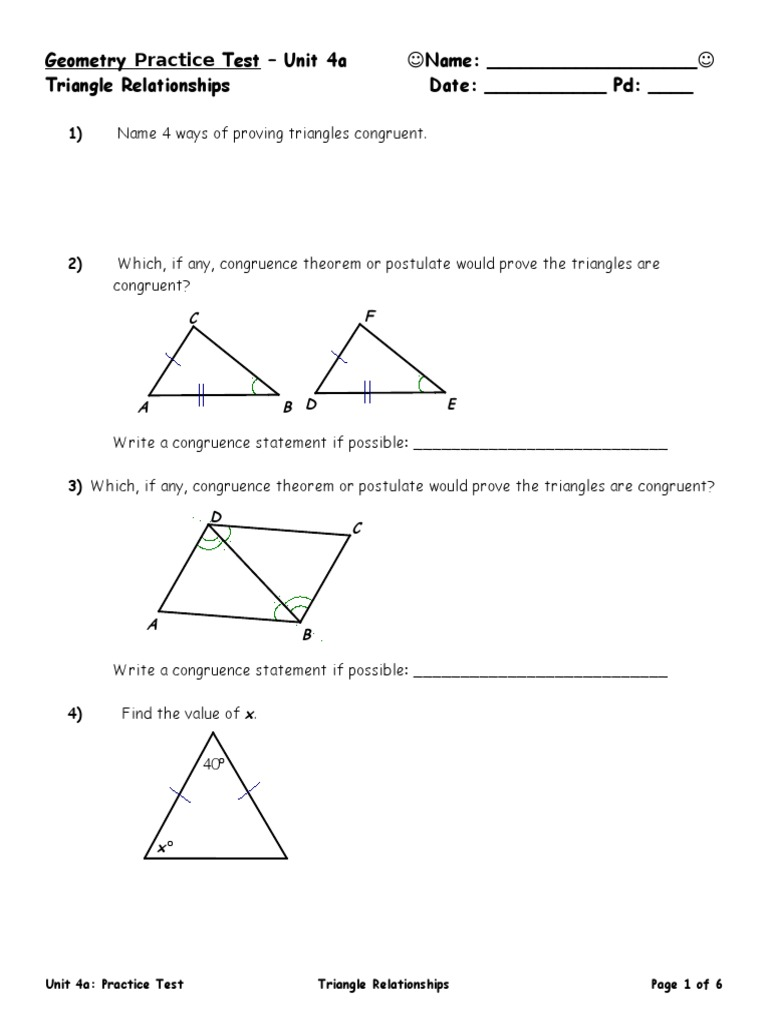 Geometry Practice Test Unit 4a Name Triangle Relationships Date Pd Euclidean Plane Geometry Triangle