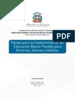 Pautas para la Implementación de  Educación Básica Flexible para Personas Jóvenes y Adultas. República Dominicana