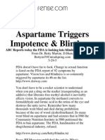 Aspartane Triggers Impotence & Blindness