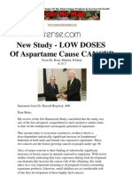 New Study - LOW DOSES of Aspartame Cause Cancer