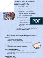 Characteristics of a Successful Speaking Activity