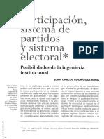 Juan Carlos Rodríguez Raga. Participación, Sistema de Partidos y Sistema Electoral.
