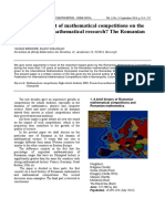 Is There an Impact of Mathematical Competitions on the Development of Mathematical Research the Romanian Experience