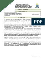 3ª Avaliação Da Aprendizagem - História Do Brasil Contemporâneo