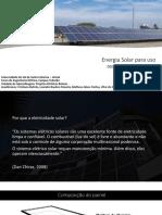 Energia Solar Para Uso Residencial e Predial