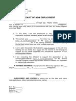 Affidavit of Non Employment