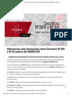 Diferencias más destacadas entre Decretos N°369 y N°44 ambos del MINECON – VIGHILE