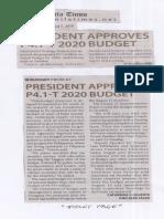Manila Times, Aug. 7, 2019, President approves P4.1-T 2020 budget.pdf