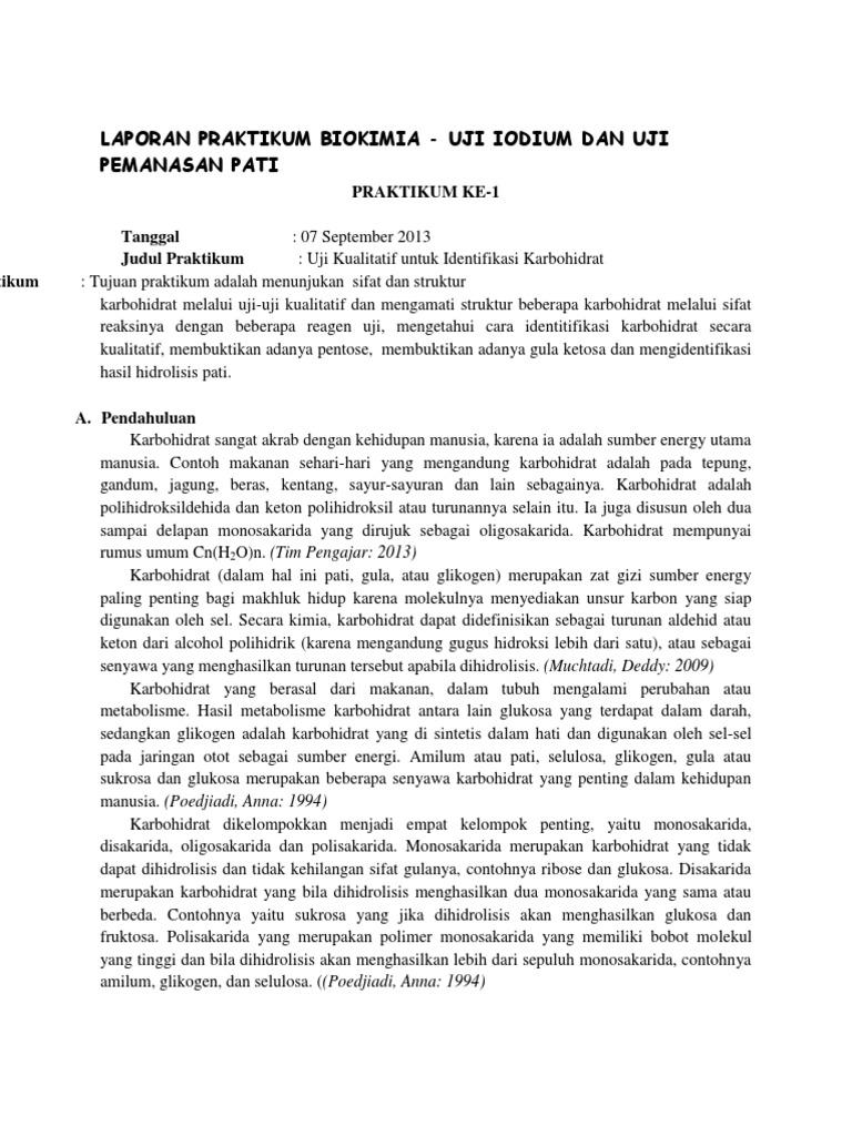 Laporan Praktikum Biokimia Karbohidrat Uji Benedict