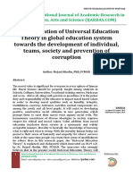 Implementation of Universal Education Theory in Global Education System Towards the Development of Individual, Teams, Society and Prevention of Corruption, Author Rejaul Abedin PhD FCMAN , IJARBAS.com