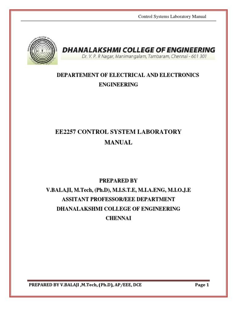 Ee2257 Control System Lab Manual | Control Theory | Bandwidth (Signal  Processing)