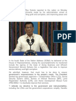 President Rodrigo Roa Duterte Reported to the Nation on Monday Significant Accomplishments Made by His Administration Aimed at Reducing Poverty