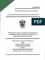 FRECUENCIA DE UROCUL TIVOS POSITIVOS A BACTERIAS EN PACIENTES DEL HOSPITAL GENERAL DE OCCIDENTE DE LA SECRETARIA DE SALUD EN EL AÑO 2001