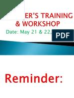 Teacher's Training & Workshop
