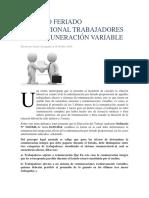 Calculo Feriado Proporcional Trabajadores Con Remuneración Variable
