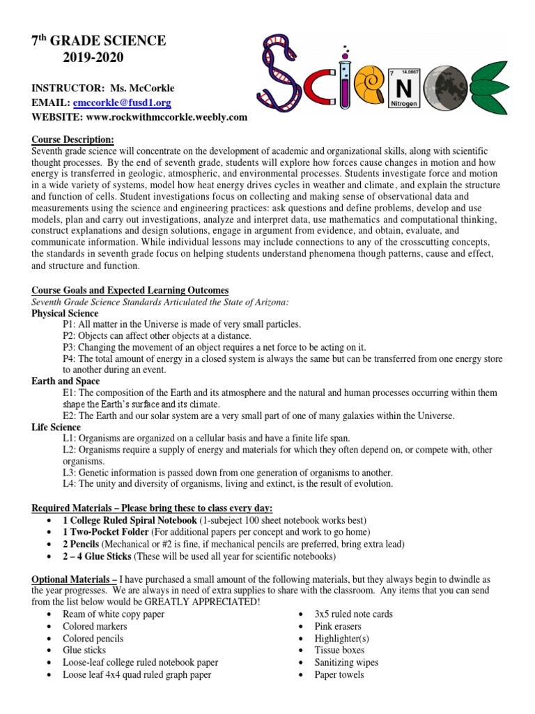 7Th Grade Science Help 7th grade science syllabus | homework | science