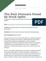 The Peer Pressure Posed by Stock Split