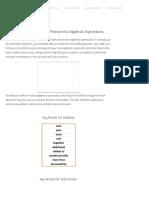 Translating Basic Math Phrases Into Algebraic Expressions - ChiliMath
