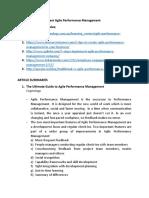 Agile Performance Management Article Summaries