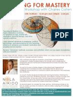 Charles Colten Sensei Teaching Mastery at NOLA Aikido 2019 Flyer