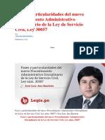 Fases y Particularidades Del Nuevo Procedimiento Administrativo Disciplinario de La Ley de Servicio Civil
