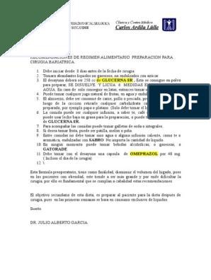 dieta preoperatoria cirugia bariatrica pdf