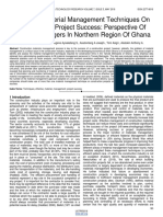 Effects of Material Management Techniques on Construction Project Success Perspective of Material Managers in Northern Region of Ghana