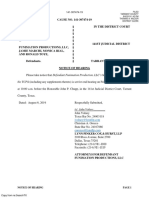 Funimation - Notice of Hearing on Motion to Dismiss