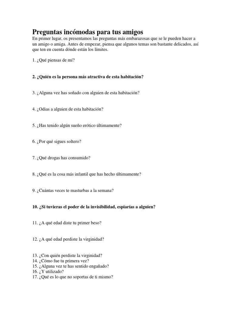 Preguntas Incómodas Para Tus Amigos Sexología La Sexualidad Humana
