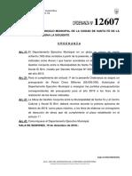 Ordenanza Nº12607 Presupuesto El Birri