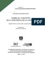 Sobre el concepto de la doctrina de la ciencia. Johann Gottlieb Fichte