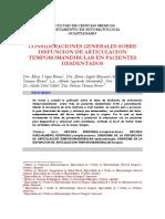 CONSIDERACIONES GENERALES SOBRE DISFUNCION DE ARTICULACION TEMPOROMANDIBULAR EN PACIENTES DESDENTADOS