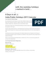 2011 Holidays